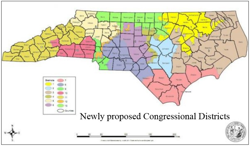 Newly proposed NC Congressional Districts